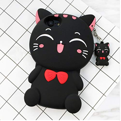 McLeod iPhone 4 4S Case, 3D Lucky Fortune Cat with Cute Bow Tie Soft Silicone Rubber Case for iPhone 4 4S (Black Fortune Cat) …