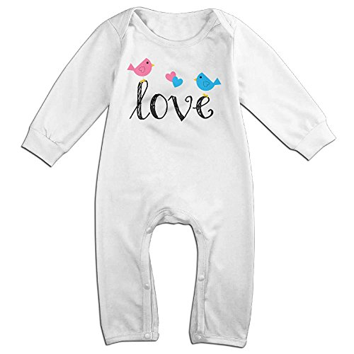 Tongbu Love Birds Baby's Bodysuit Climb Clothes Boy & Girl Soft Cotton Long Sleeve Romper Jumpsuit 6 MWhite (Halloween Cake Pinterest)