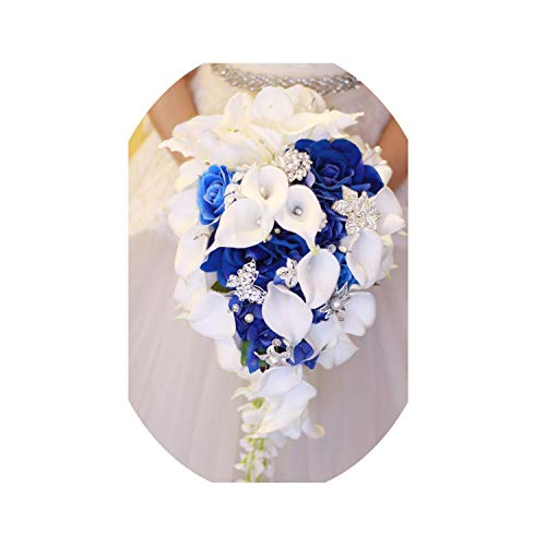 (Artificial-Flowersroyal Blue Artificial Bride Flowers Waterfall Wedding Bouquet with Crystal Bridal Brooch Bouquets Ramo De Peonias,Royal Blue)