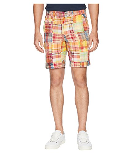 (Vintage 1946  Men's Acid Washed Patch Madras Shorts Orange 34 9)