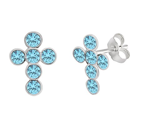 Simulated Blue Topaz Cross Stud Earrings 14K White Gold Over Sterling Silver - Blue Topaz Cross Earrings