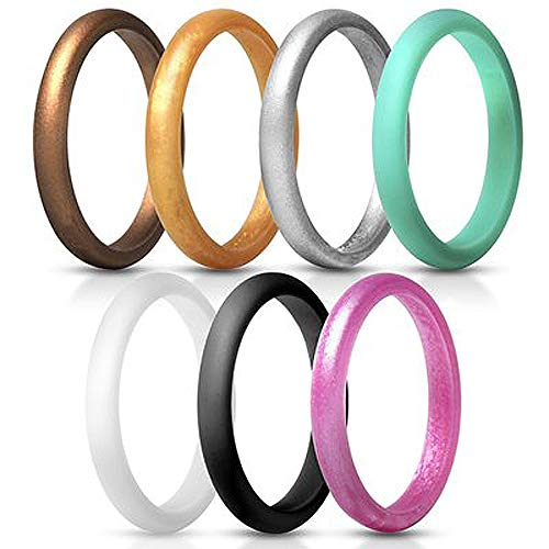KHYOMI XWYL Silicone Wedding Ring for Women,Thin-Silicone Stackable Rings,Women Work Wedding Band-Comfortable fit&Skin Safe-2.7 mm Wide (7 Color, 7.5-8(18.2))