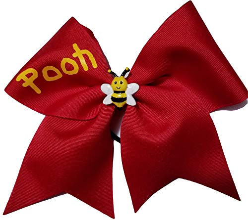 Cheer Bows Red Winnie The Pooh with Center cabochon Bumble bee Hair Bow