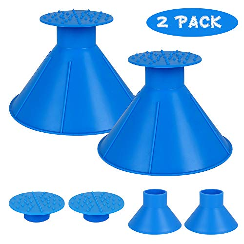 Feeke 2 Pack Ice Scraper Round Car Window Windshield Cone - Larger Coverage Diameter Snow Ice Scraper Funnel Removal Tool with 2 Ice Breakers(Blue) (2 Pack)