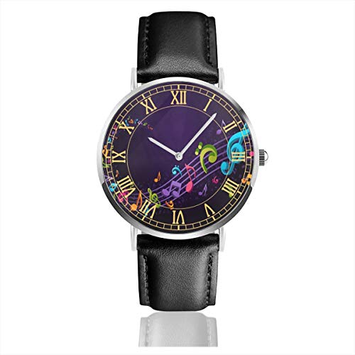 Mens Watch Music Notes Purple Hot Business Stainless Steel Quartz Wrist Watches with Replaceable Leather Band