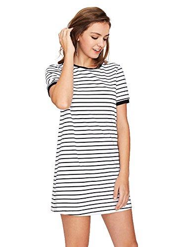 SheIn Womens Short Sleeve Crew Neck Shift Striped T-Shirt Dress