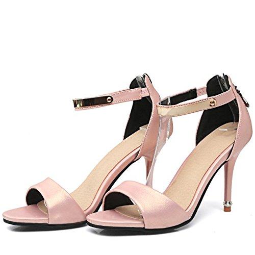 TAOFFEN Mujer Peep Toe Sandalias Moda Tacon De Aguja Tacon Alto Al Tobillo Cremallera Zapatos Rosado
