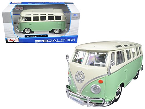 (Maisto Volkswagen Van Samba Bus Green 1/25 Model Car)