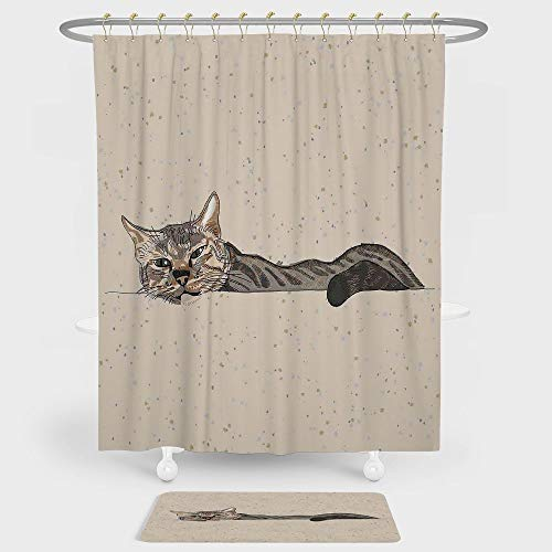 - Cat Shower Curtain And Floor Mat Combination Set Lazy Sleepy Cat Figure in Earth Tones Cute Furry Mascot Indoor Pet Art Illustration For decoration and daily use Grey Beige