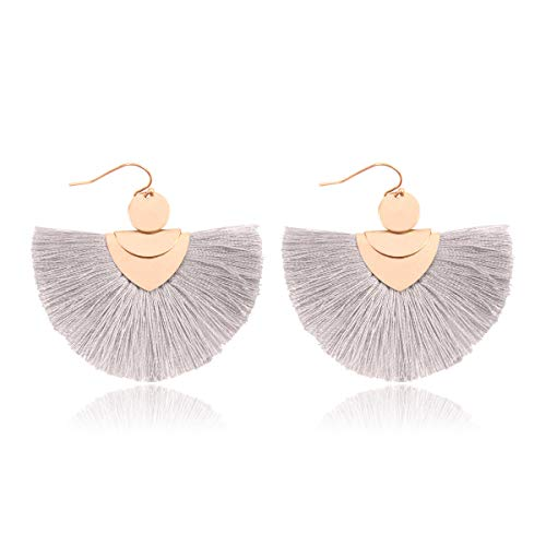 RIAH FASHION Bohemian Fan Tassel Drop Earrings