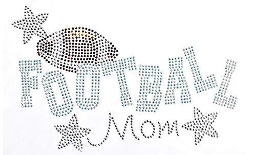 (Football Mom with Stars Rhinestone Iron on Hotfix Transfer Football Mom Bling - 8