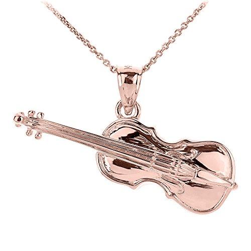 Collier Pendentif 10 ct Or Rose 3D Violoncelle Musique (Livré avec une 45cm Chaîne)