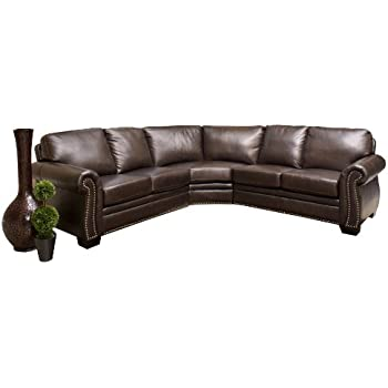 Amazoncom Abbyson Carlisle Leather Sofa Home Kitchen