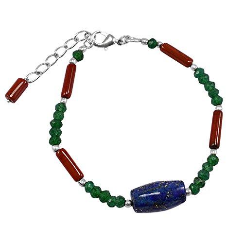 Saamarth Impex Emerald (Lab), Lapis Lazuli & Jasper Bracelet (Emerald Jasper Bracelet)