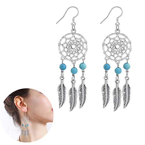(YOOE Geometric Ccircle Reticular Leaf Pendant Earrings,Hollowing Dream Catcher Network Turquoise Many Leaves Pendant Necklace for Women Girls Birthday Gifts (Silver Blue))