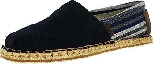 Toms-Mens-Classic-Hemp-Blanket-Stitch-M-Navy-Ankle-High-Canvas-Flat-Shoe-9M
