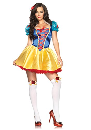 Disney Adult Snow White Costumes (Leg Avenue Women's 2 Piece Fairytale Snow White Costume, Multi, Small/Medium)