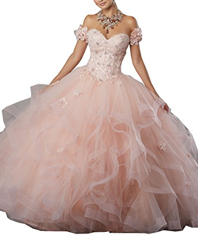 Gemila Women's Off-Shoulder Lace Applique Flower Sweet 16 Ball Gown Quinceanera Dress Light Pink US6
