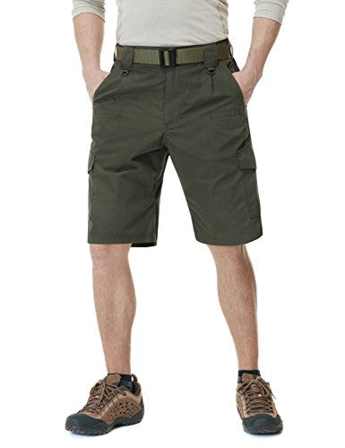 CQR CQ-TSP202-GRN_32 Men's Tactical Lightweight Utiliy EDC Cargo Work Uniform Shorts TSP202