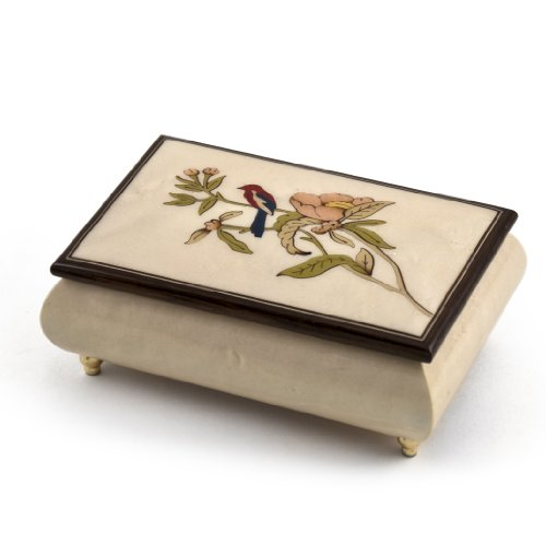 Incredible Handcrafted Ivory Music Box with Bird and Flower Inlay - Over 400 Song Choices - Singing In The Rain