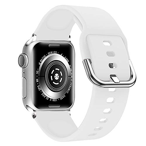 Series Medium Rubber - Lwsengme Compatible with Apple Watch Band 38mm 42mm Series 3/2/1 40mm 44mm Series 4, Soft Rubber Sport Accessories iWatch Fitness Bands (White, 38mm/40mm)