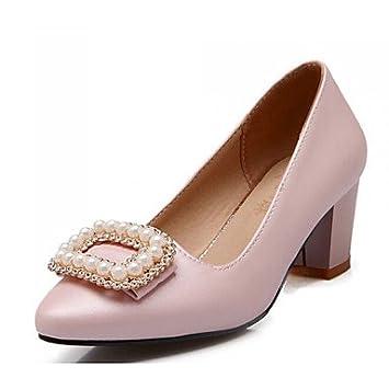 c1d199559244 Damenschuhe Kunstleder Blockabsatz Absätze Pumps   High Heels Kleid Lässig  Rosa Beige , Pink
