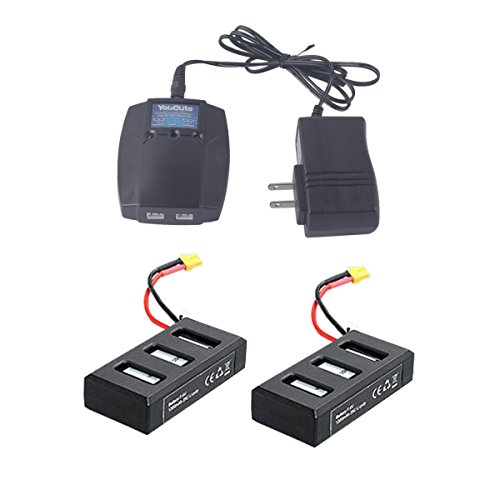 Bug Charger - YouCute 2PCS 1300mAh battery and 1 to 2 charger for MJX B6 Bugs 6 B6F B6FD Rc drone spare parts (2PCS Batteries+charger)