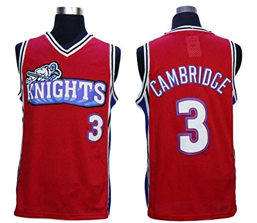 MVG ATHLETICS Cambridge #3 Knights Throwback Basketball Jersey Embroidery Small-XXL (Red, Large)
