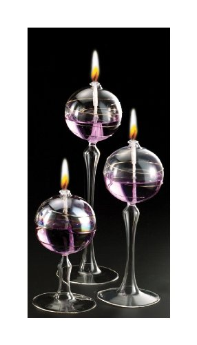 Iridescent Stem Ball Glass Oil Candle Lamps Set of 3, 2-10',1-8'