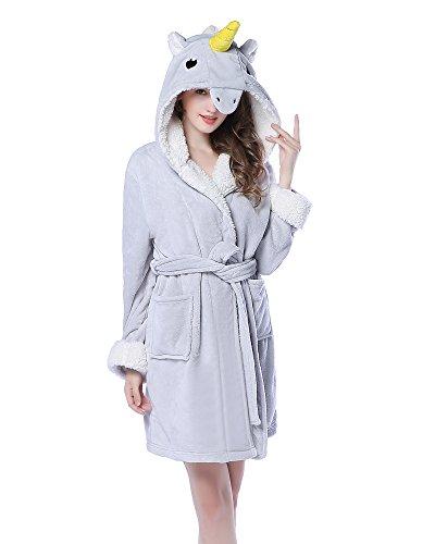 NEWCOSPLAY Adult Unisex Unicorn Hooded Pajamas Robe Costume (S/M, Grey Unicorn)