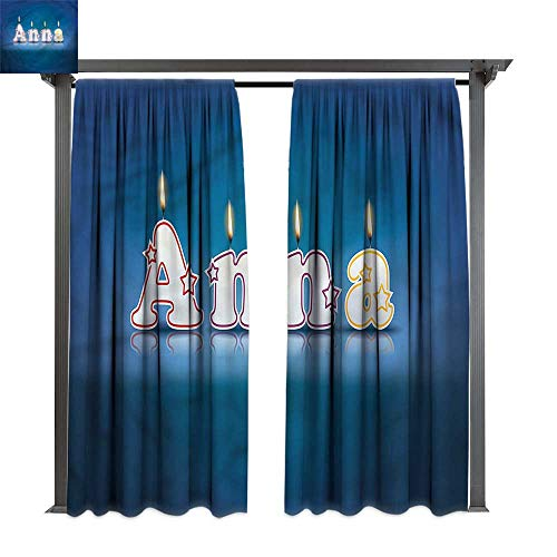 cobeDecor Thermal Insulated Drapes Anna Birthday Candles Name for Lawn & Garden, Water & Wind Proof W120 xL96