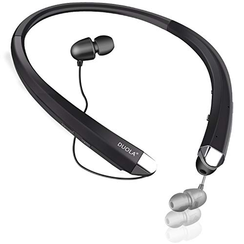 Wireless Headphone, Bluetooth 4.1 Earbuds, Duola Neckband Stereo Athletic Headset w/Integrated Microphone for Mobile Phone (Black)