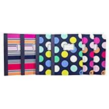Studio C Composition Notebooks, In the Navy Collection, Assorted Colors, 6 Pack (21481)