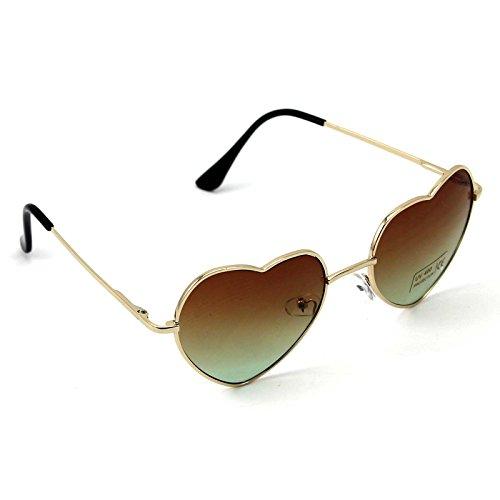 marrón Gafas mujer metálica de corazón de y marrón W para top montura sol con diseño W5nXwg68qT