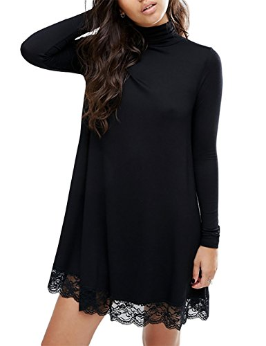 Women's Knitting Turtleneck Long Sleeve Loose Lace Cotton Casual Dress Black L (Dress Cotton Knitting)