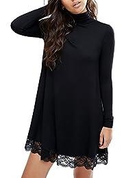 YesFashion Women's Knit Turtleneck Lace Cotton Casual Dress Black