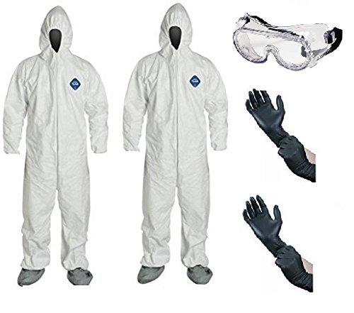 DuPont TY122S Disposable Elastic Wrist, Bootie & Hood White Tyvek Coverall Suit 1414 (XL- 2 Pack w/ Glove & Goggle) Dupont Chemical Suits
