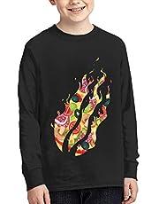 FLOWERWORLDS Boys and Girl Preston Fire Nation Playz Gamer Flame Long-Sleeve T-Shirt Youth Fashion Shirt Black