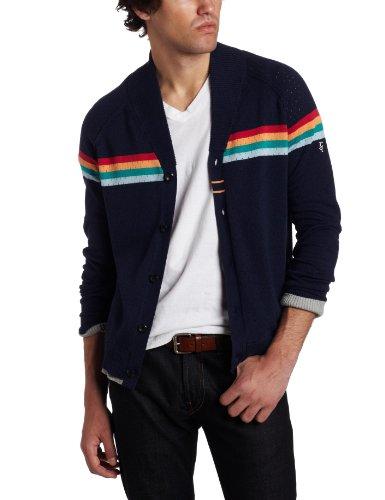J.C. Rags Men's Perforated Stripe Knit Cardigan Shirt