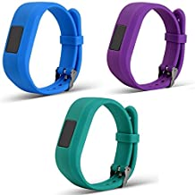 Newest Colorful Replacement Wristband and straps With Secure Clasps for Garmin Vivofit 3 / Vivofit Jr. (No tracker, Replacement Bands Only) (Skyblue&Purple&Teal)