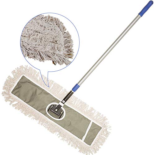 JINCLEAN 24 Industrial Class Cotton Floor Mop | Dry to Attract dirt, dust Or Hardwood Floor Clean, Office, Garage Care, Telescopic Pole Height Max 59 (24 x 11 Cleaning Path Industrial Mop)