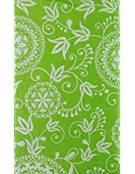 Woven Embroidery Look Floral Design Vinyl Flannel Back Tablecloth (Green, 52