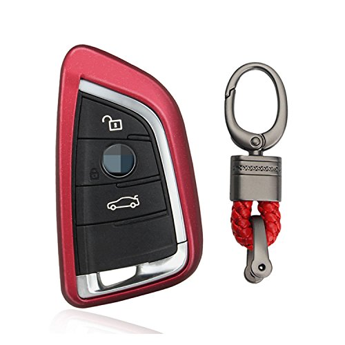 M.JVisun TPU Soft Silicone Case Cover Protector Shell for BMW Smart Key Fob, Car Remote Key Fob Case for BMW X1 X5 X5M X6 X6M BMW 2 Series BMW 7 Series Fob Remote Key with Keychain - Red (Best Tires For Bmw X6)