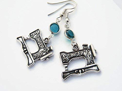 Sewing Machine Birthstone Earrings, Seamstress Earrings, Quilters Earrings, Personalized Quilter Jewelry Gift from Abundant Earth Works