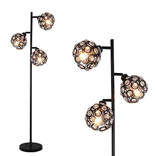 Stepeak Crystal Floor Lamp,3-Light Adjustable Sofa Reading Light Bedroom...