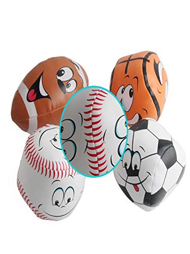 Yliquor Funny 4PC Baby's Cotton Soft Ball Rugby, Football, Basketball, Softball Smiling Rugby Squeezed Eduactional Toys (as Show) - A As Senior Softball