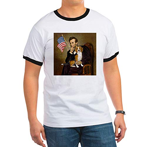 CafePress Lincoln & Beagle Ringer T-Shirt, 100% Cotton Ringed T-Shirt, Vintage Shirt Black/White