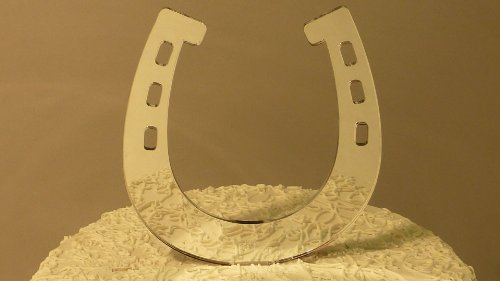 Mirrored Horseshoe Monogram Wedding Cake Topper