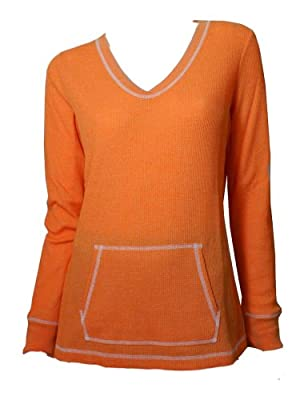 Lizwear Womens Pullover Athletic Thermal Shirt Orange