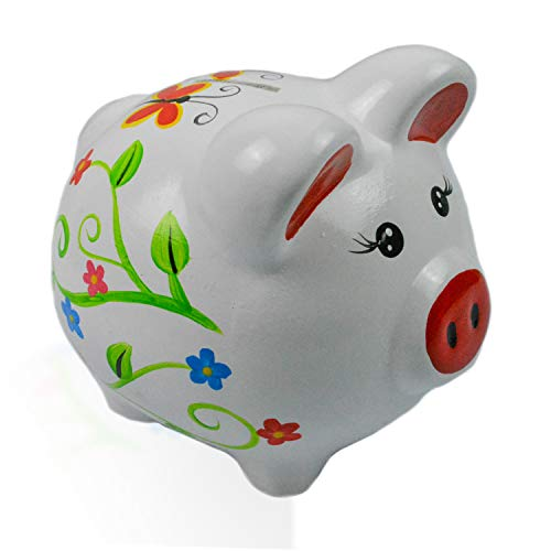 Kinnaree 6 Inch Painted Ceramic White Piggy Bank (Painted Bank)